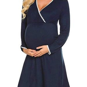 Maternity Breastfeeding Nursing Pajama Gown